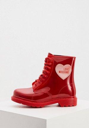 Резиновые ботинки Love Moschino. Цвет: красный
