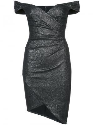 Платье с открытыми плечами и присборенной отделкой Nicole Miller. Цвет: чёрный