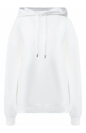 Хлопковый пуловер с капюшоном Acne Studios. Цвет: белый