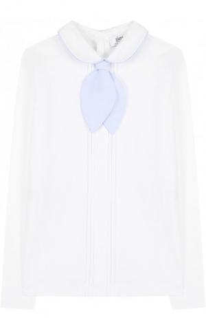 Хлопковая блуза с плиссированными вставками и съемным галстуком Aletta. Цвет: белый