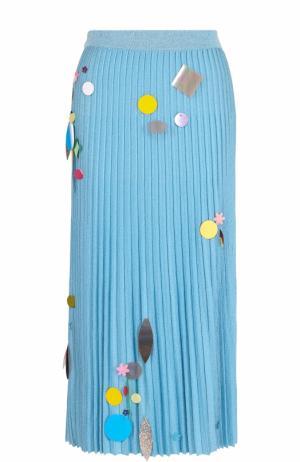 Плиссированная юбка-миди с пайетками Christopher Kane. Цвет: голубой