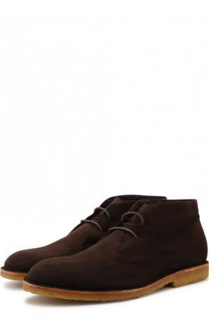 Замшевые ботинки на шнуровке с внутренней меховой отделкой Brioni. Цвет: темно-коричневый