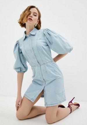 Платье джинсовое Twinset Milano. Цвет: голубой