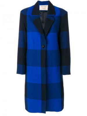 Клетчатое однобортное пальто Maison Kitsuné. Цвет: синий