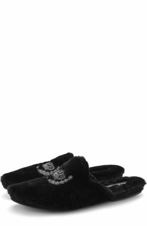 Домашние меховые слиперы без задника Dolce & Gabbana. Цвет: черный