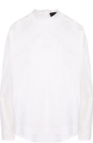 Однотонная хлопковая блуза с воротником-стойкой Erika Cavallini. Цвет: белый