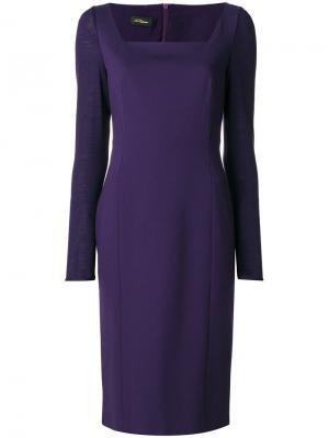Классическое приталенное платье Les Copains. Цвет: розовый и фиолетовый