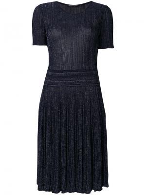 Блестящее плиссированное платье Antonino Valenti. Цвет: синий