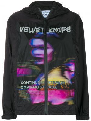 Куртка-дождевик с принтом Velvet Knife Prada. Цвет: чёрный
