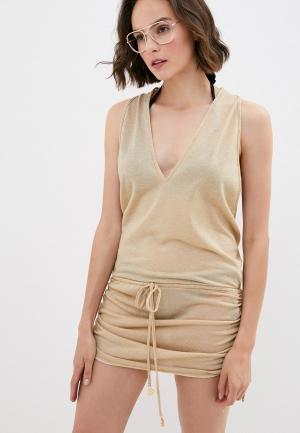 Платье пляжное Luli Fama. Цвет: золотой