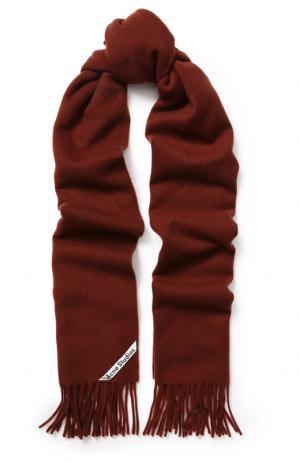Шерстяной шарф с бахромой Acne Studios. Цвет: коричневый