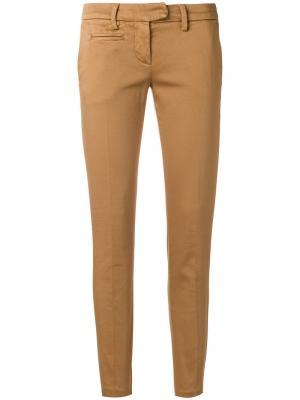 Облегающие брюки-чинос Dondup. Цвет: коричневый