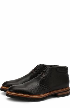 Кожаные ботинки на шнуровке Kiton. Цвет: темно-коричневый