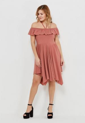 Платье Lost Ink Plus. Цвет: коричневый
