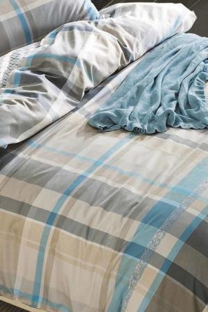 Постельное белье Евро, 70x70 Jardin. Цвет: голубой