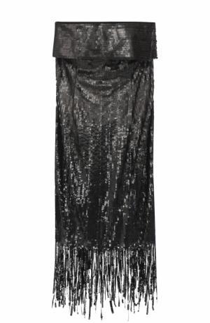 Платье-бюстье с пайетками и бахромой Oscar de la Renta. Цвет: черный