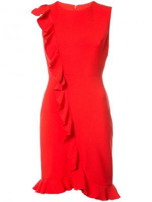 Приталенное платье с оборками Nicole Miller. Цвет: красный