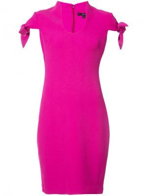 Приталенное платье миди Badgley Mischka. Цвет: розовый и фиолетовый