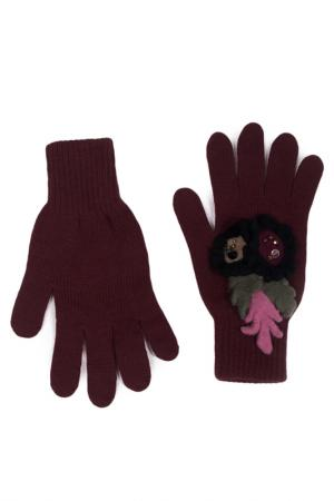 Перчатки LAK MISS. Цвет: бордовый