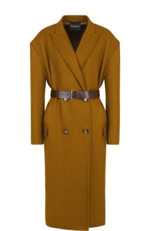Двубортное шерстяное пальто с поясом Erika Cavallini. Цвет: хаки