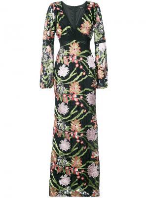 Платье макси с цветочным рисунком Badgley Mischka. Цвет: многоцветный