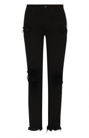 Укороченные джинсы с потертостями Denim X Alexander Wang. Цвет: черный