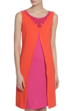 Платье CLIPS. Цвет: коралловый