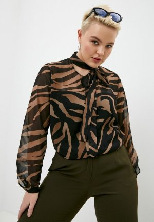 Блуза Persona by Marina Rinaldi. Цвет: коричневый