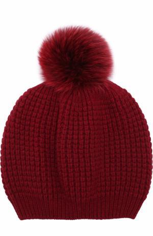 Кашемировая шапка фактурной вязки с меховым помпоном Kashja` Cashmere. Цвет: бордовый