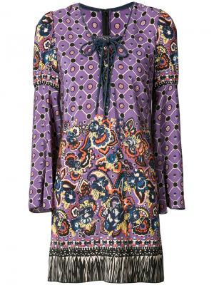 Платье с узором пейсли и бахромой Anna Sui. Цвет: розовый и фиолетовый
