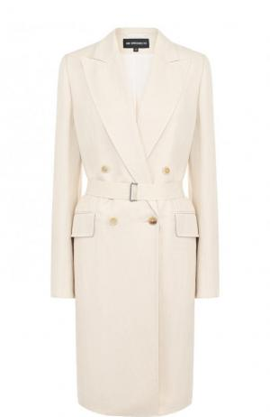 Однотонное пальто из смеси вискозы и льна с поясом Ann Demeulemeester. Цвет: бежевый