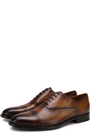 Кожаные оксфорды с брогированием Doucals Doucal's. Цвет: коричневый