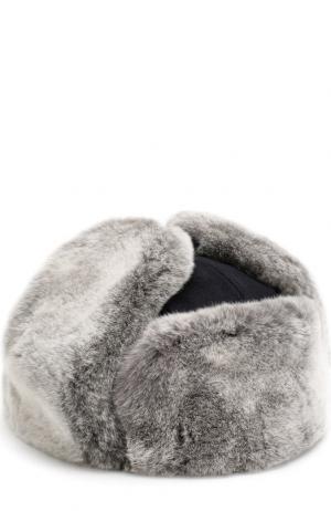 Кашемировая шапка-ушанка с меховой отделкой Ermenegildo Zegna. Цвет: темно-синий