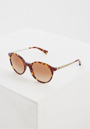 Очки солнцезащитные Emporio Armani. Цвет: коричневый