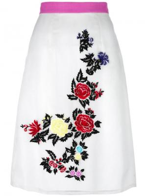 Юбка с вышивкой роз House Of Holland. Цвет: белый