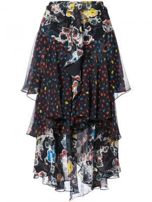 Юбка с цветочным принтом и оборками Jason Wu. Цвет: чёрный