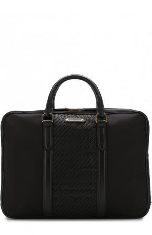 Текстильная сумка для ноутбука с кожаной отделкой и плечевым ремнем Ermenegildo Zegna. Цвет: черный