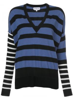 Пуловер в полоску с V-образным вырезом Derek Lam 10 Crosby. Цвет: синий