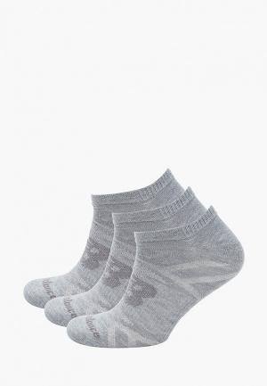 Носки 3 пары New Balance. Цвет: серый