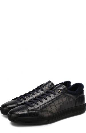 Кожаные кеды на шнуровке с внутренней меховой отделкой Doucals Doucal's. Цвет: темно-синий