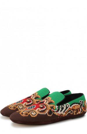 Слиперы с вышивкой Loewe. Цвет: разноцветный