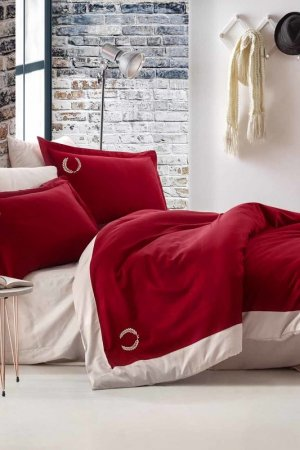 Double Cover Set, euro COTTON BOX. Цвет: red
