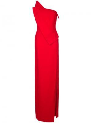 Корсетное платье с открытыми плечами Antonio Berardi. Цвет: красный