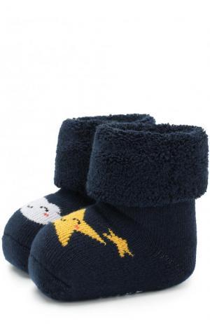 Хлопковые носки с принтом Falke. Цвет: темно-синий
