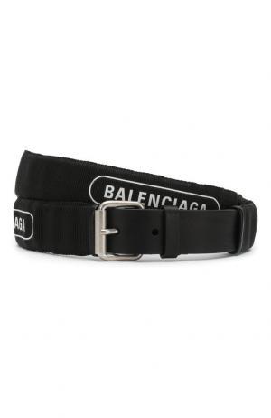 Хлопковый ремень с логотипом бренда и кожаной отделкой Balenciaga. Цвет: черный