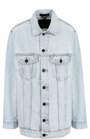 Джинсовая куртка свободного кроя с потертостями Denim X Alexander Wang. Цвет: голубой