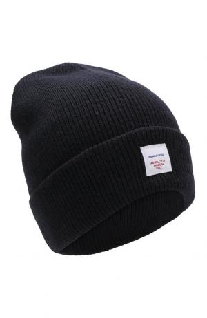 Шерстяная шапка с логотипом бренда Daniele Fiesoli. Цвет: темно-синий