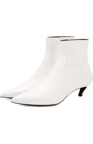 Кожаные ботильоны Slash на каблуке kitten heel Balenciaga. Цвет: белый