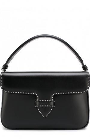 Кожаная сумка с заклепками Alaia. Цвет: черный