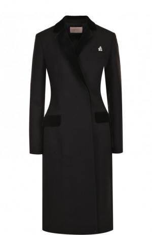 Приталенное шерстяное пальто с декоративной отделкой Christopher Kane. Цвет: черный